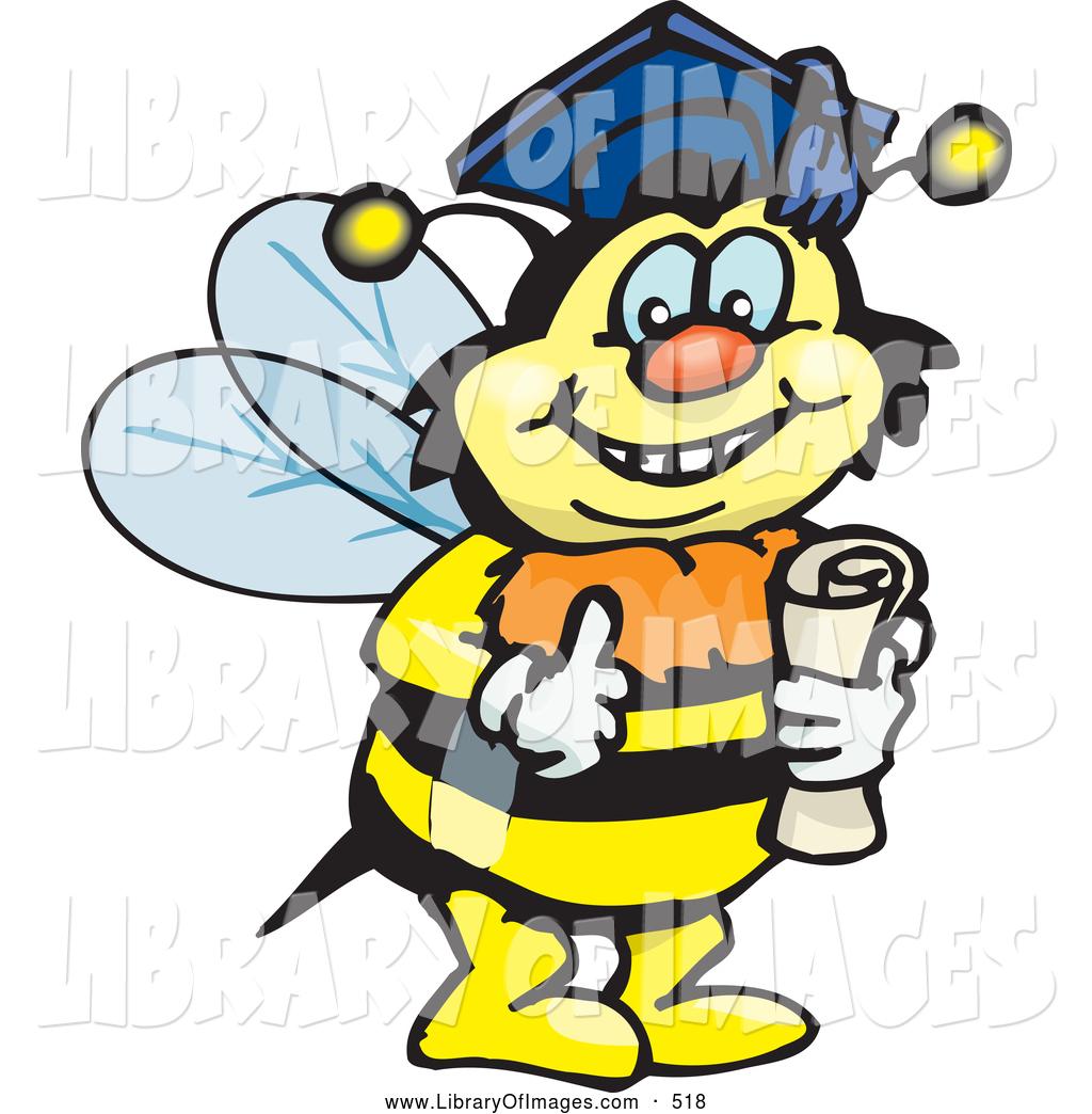 Clip art of a. Bees clipart graduation