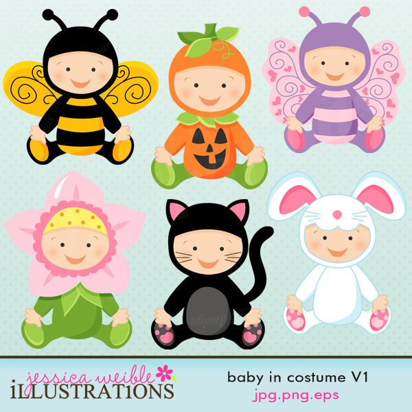 Baby in costume set. Bees clipart halloween