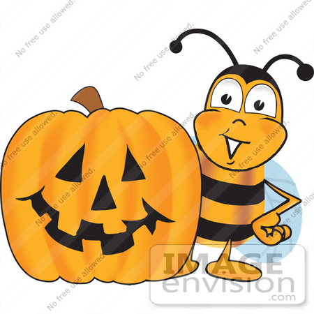 Pencil and in color. Bees clipart halloween