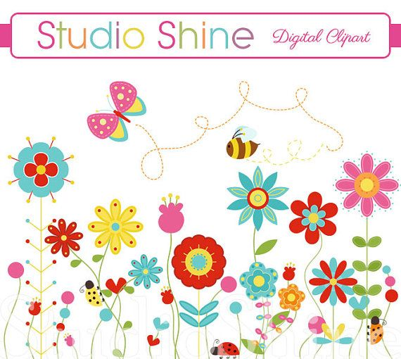 Flower happiness blooms cute. Bees clipart ladybug