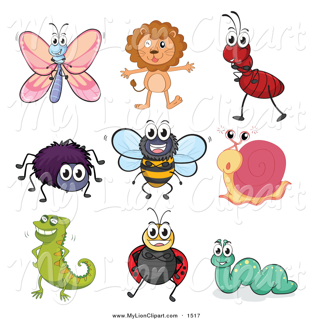 Bees clipart ladybug. Of a happy butterfly