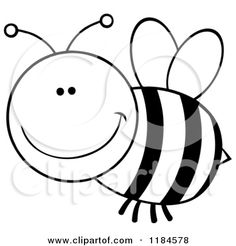 Bee black and white. Bees clipart outline