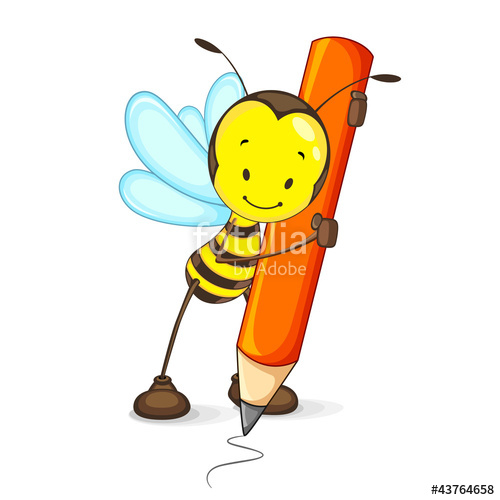 Vector illustration of happy. Bees clipart pencil