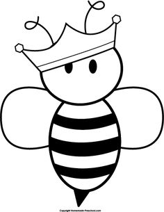 Honey Bee Black And White Clipart