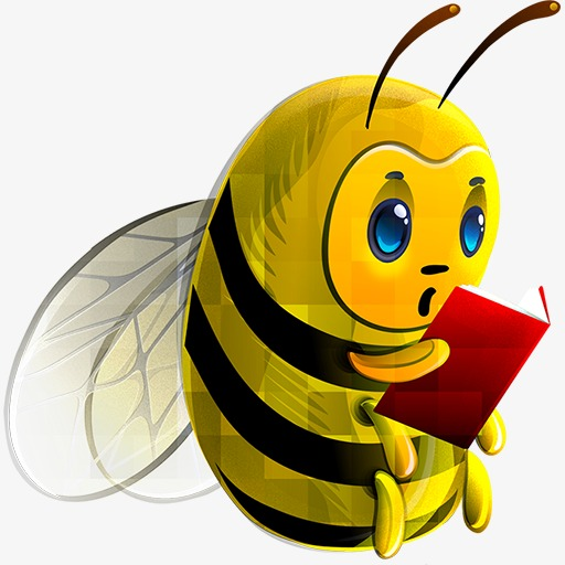 Bee book hand painted. Bees clipart reading