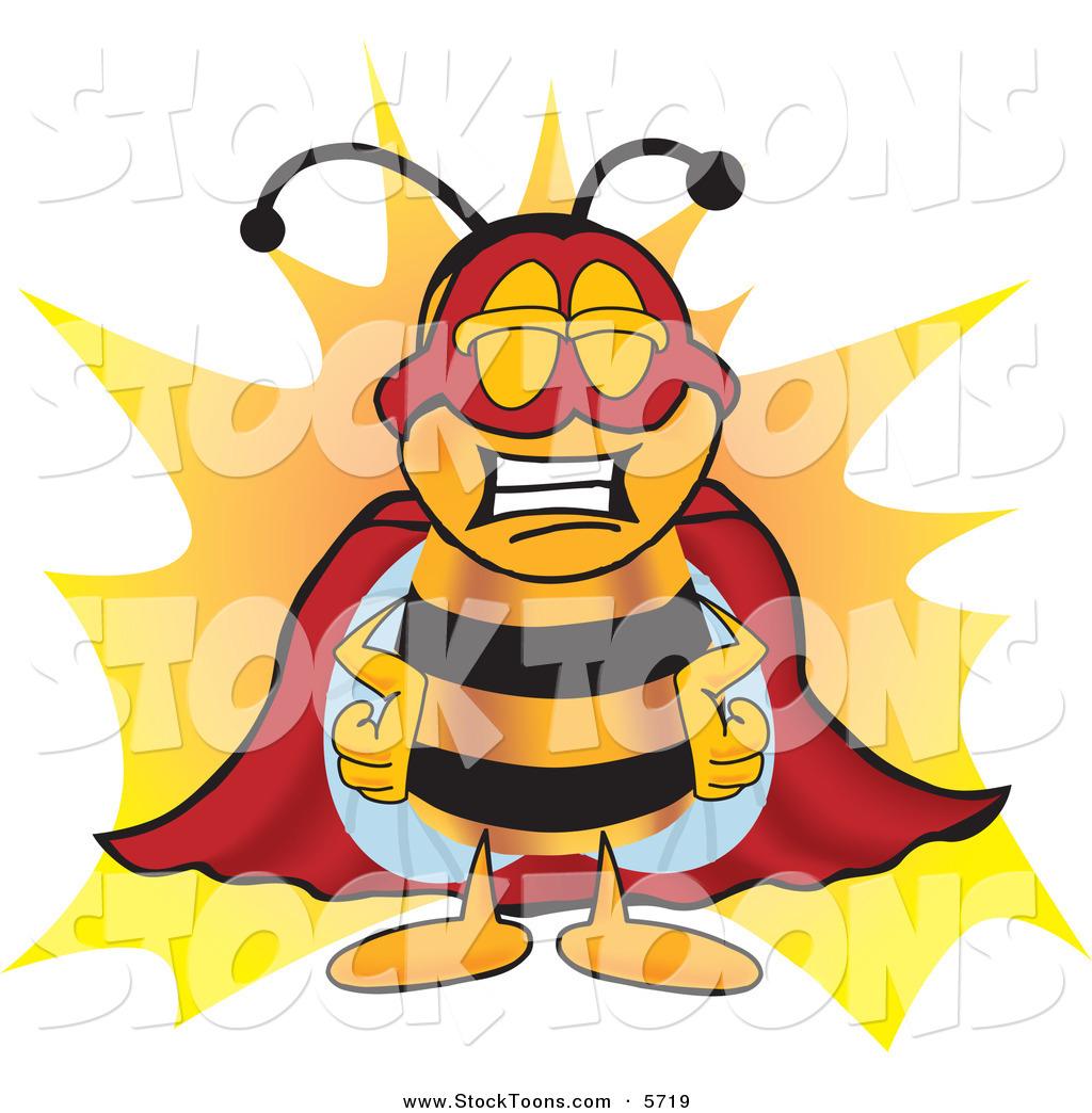 Bees clipart superhero. Royalty free stock cartoon