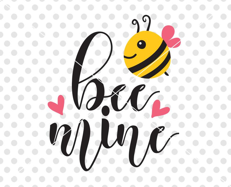Svg dxf cutting file. Bees clipart valentines day