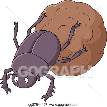 Beetle clipart cartoon. Vector art dung with