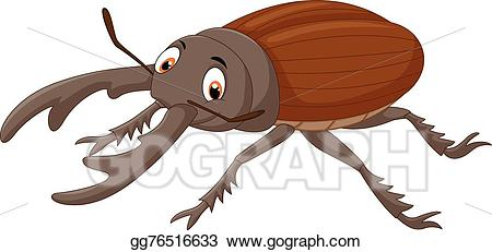 Vector stock stag illustration. Beetle clipart cartoon
