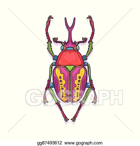 Bug clipart scarab beetle. Vector art colorful insect