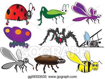 Vector stock cute bugs. Beetle clipart little bug