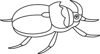 Free black and white. Beetle clipart outline