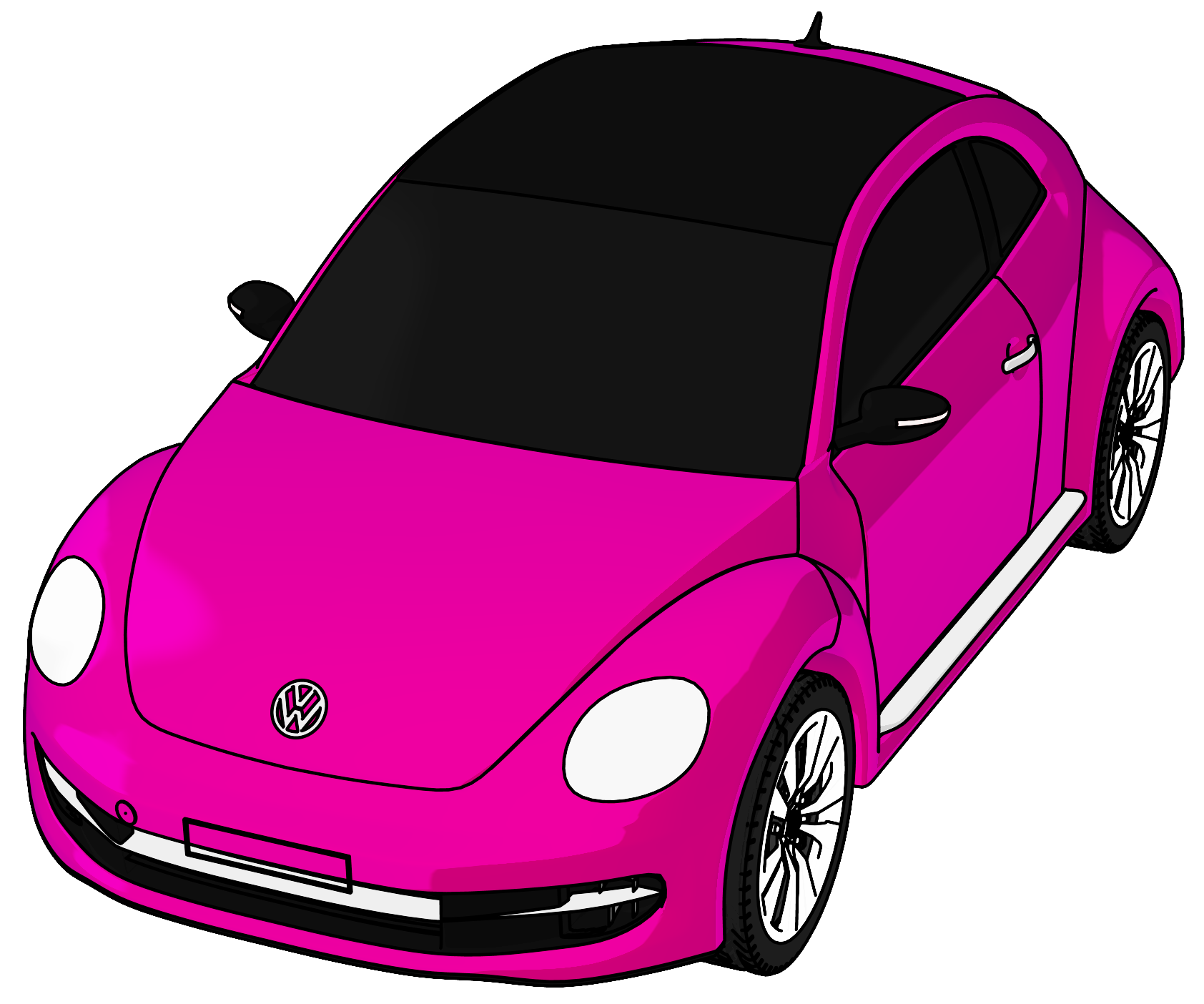 Vw volkswagen perspective view. Clipart car beetle