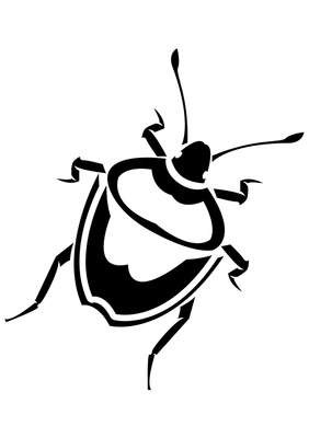 Black and white clip. Beetle clipart simple