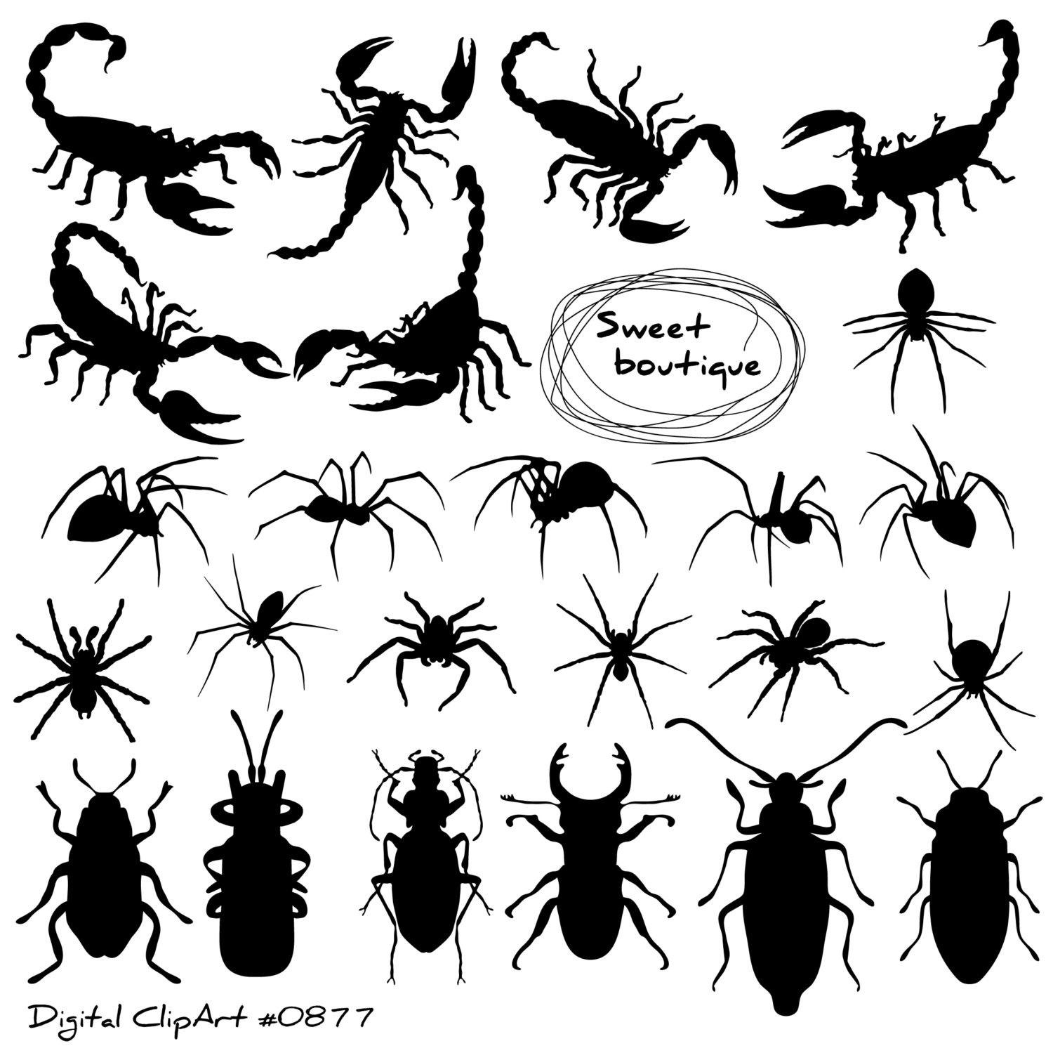 Insects clip art bugs. Bug clipart silhouette