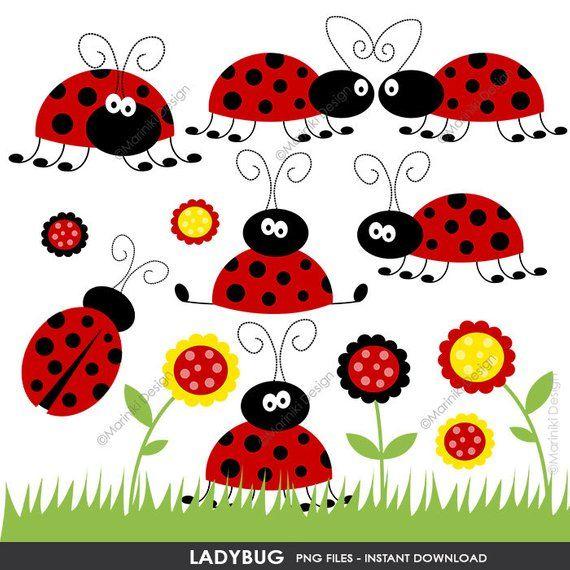 Ladybug set cute red. Ladybugs clipart flower