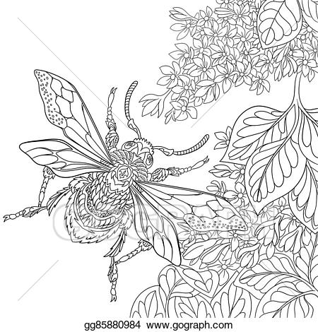 Beetle clipart stylized. Eps vector hand drawn