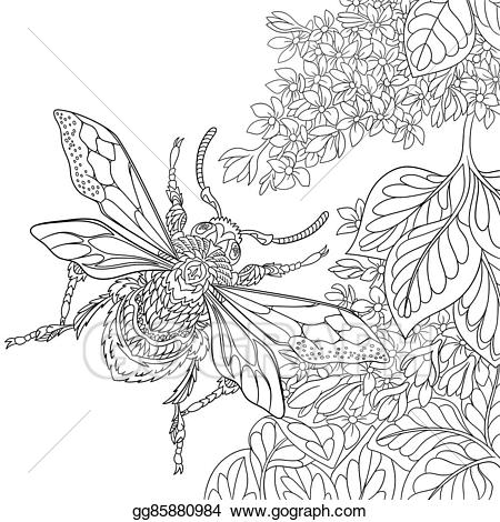 Eps vector hand drawn. Beetle clipart stylized