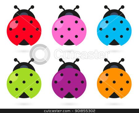 Beetle clipart stylized. Cute colorful ladybug set