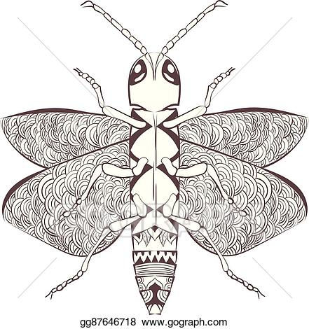 Vector illustration zentangle cartoon. Beetle clipart stylized