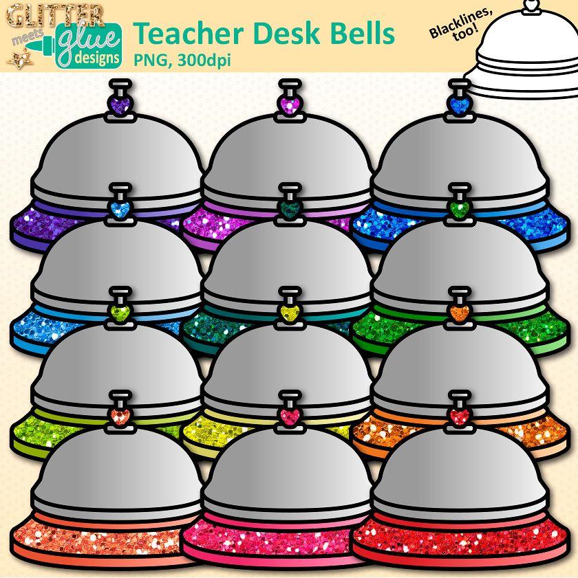 Bell clipart bell work. Teacher desk and school