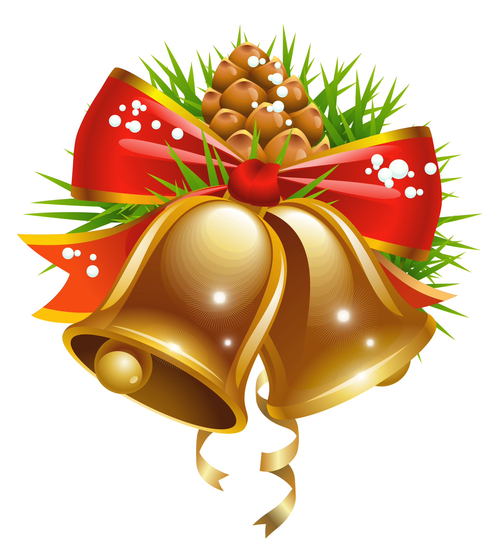 Christmas with bow png. Bells clipart vector