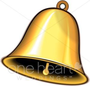 Gold wedding bell. Bells clipart traditional