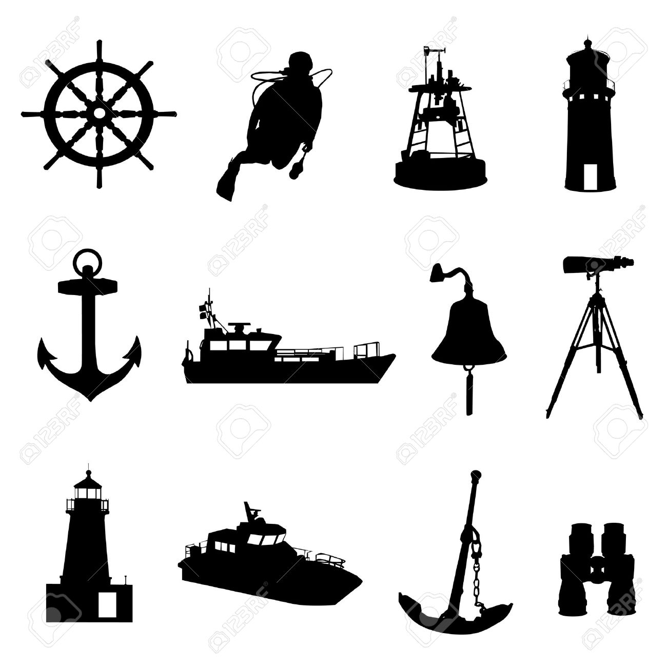 Pencil and in colo. Nautical clipart bell