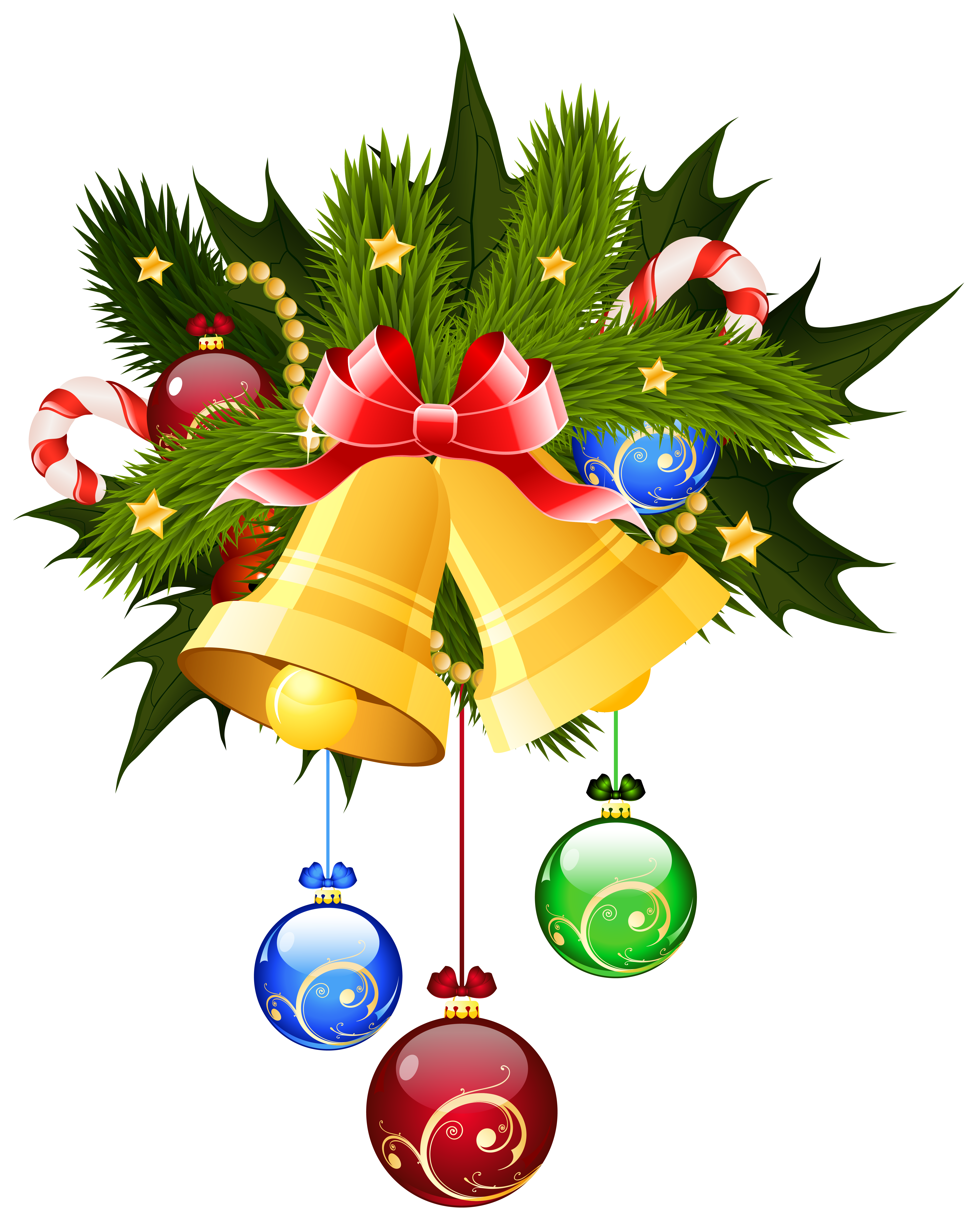 Christmas bells and ornaments. Ornament clipart bell