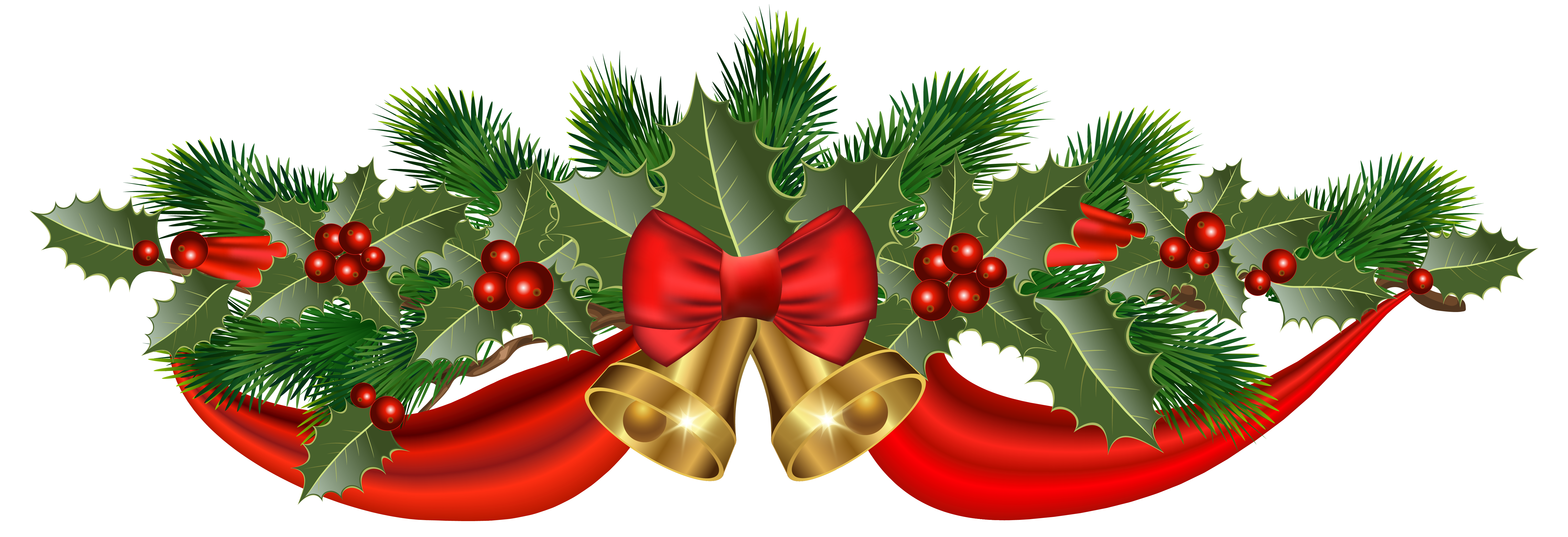 Christmas golden bells and. Holly clipart ribbon