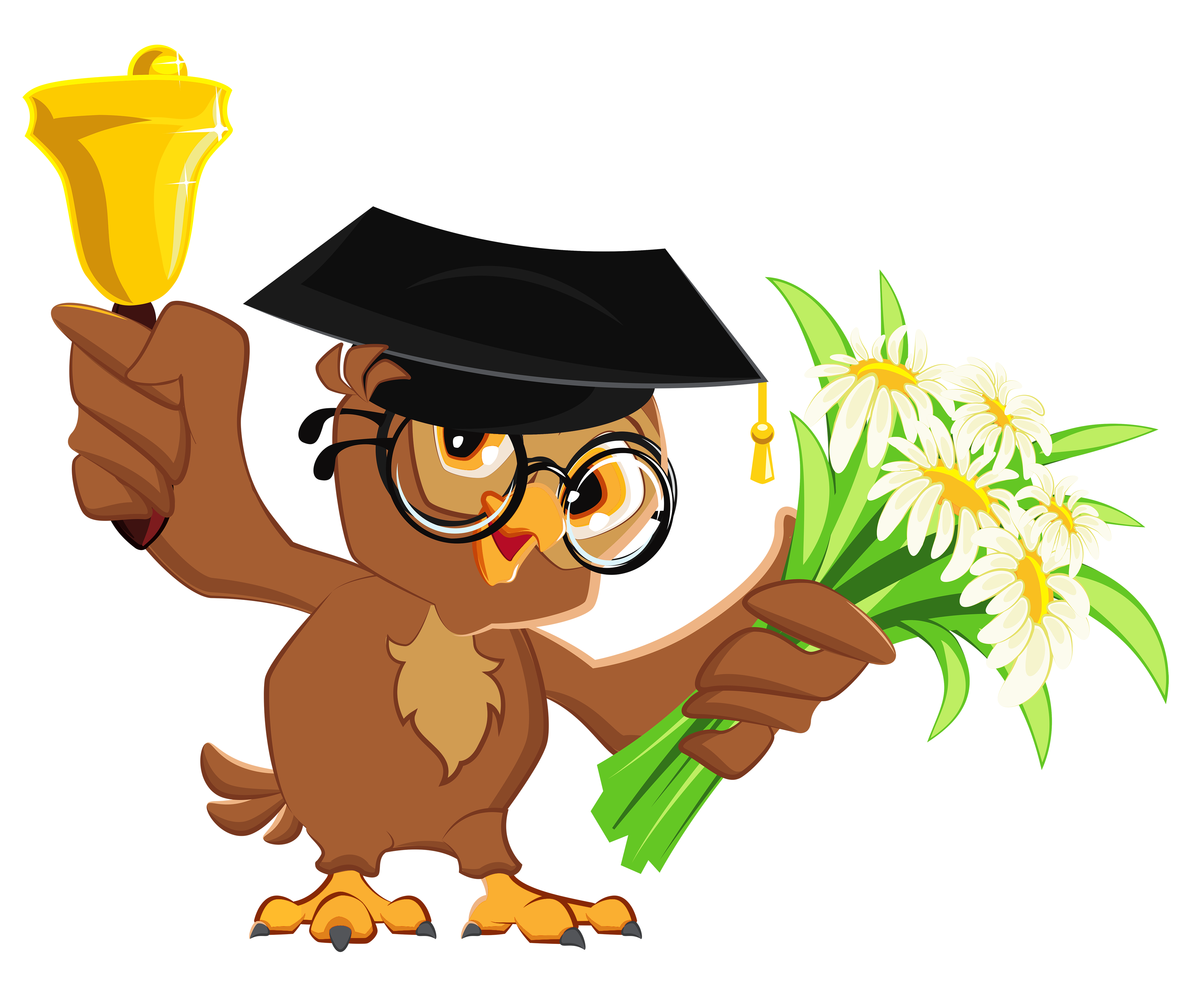 Owl with bell png. Owls clipart school