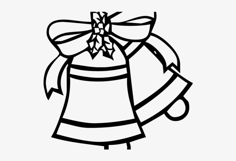 Christmas coloring . Bell clipart simple