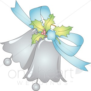 Silver bells with light. Berries clipart two