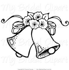Black and white wedding. Bells clipart design