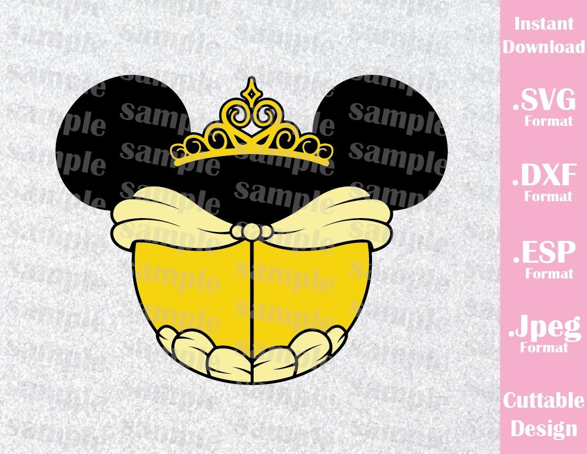 Princess ears inspired cutting. Belle clipart ear mickey