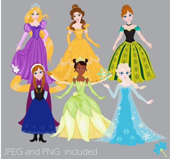 Digital set disney princess. Belle clipart rapunzel