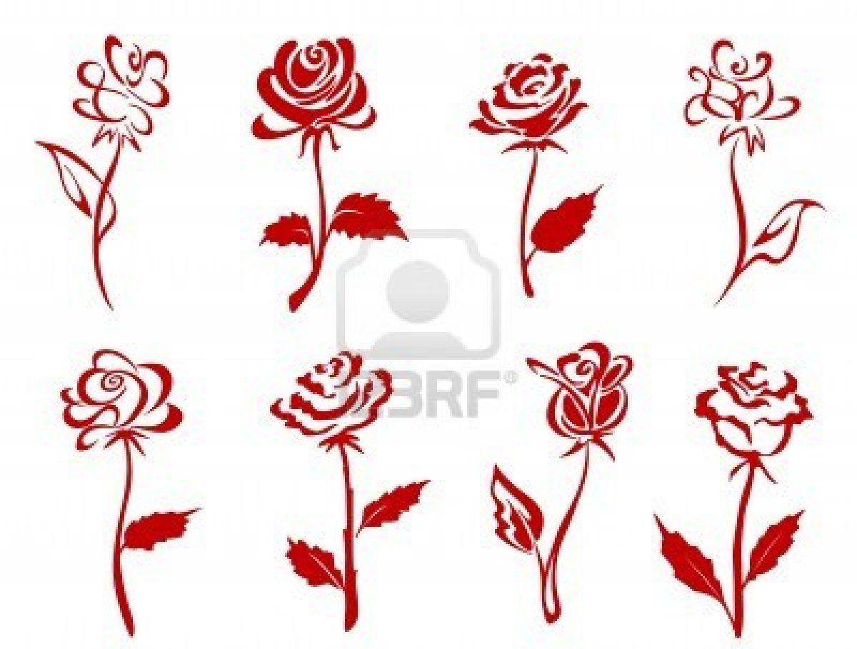 Belle clipart rose. Rosse isolato impostare illustrazione