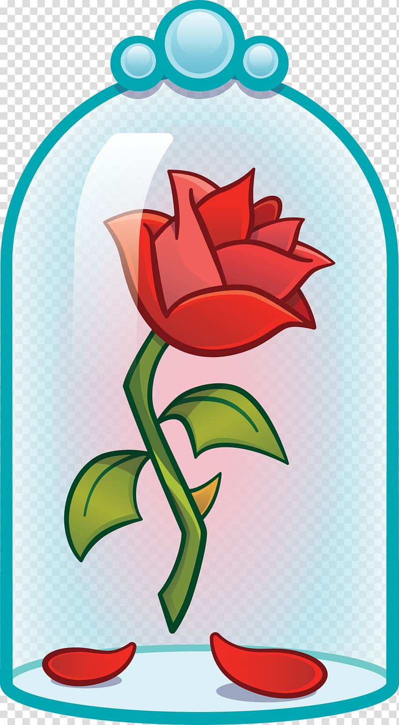 Red illustration disney emoji. Belle clipart rose
