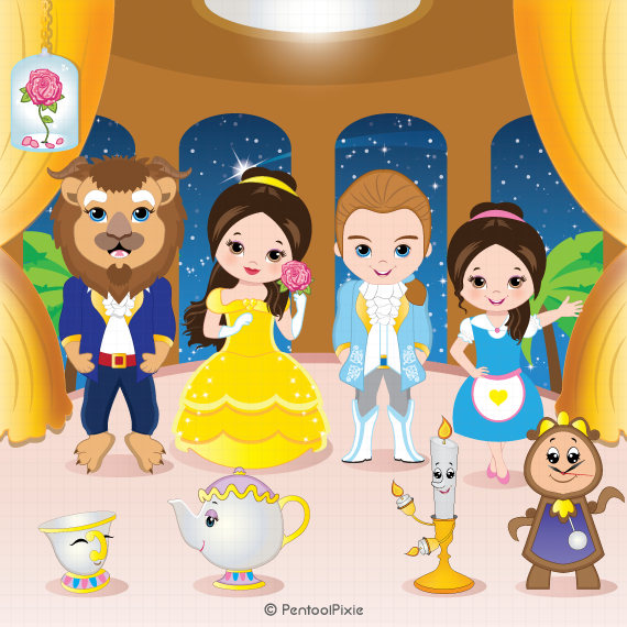 Belle clipart toddler. Beauty beast princess digital