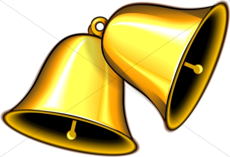 Bells clipart. Pair of ringing gold