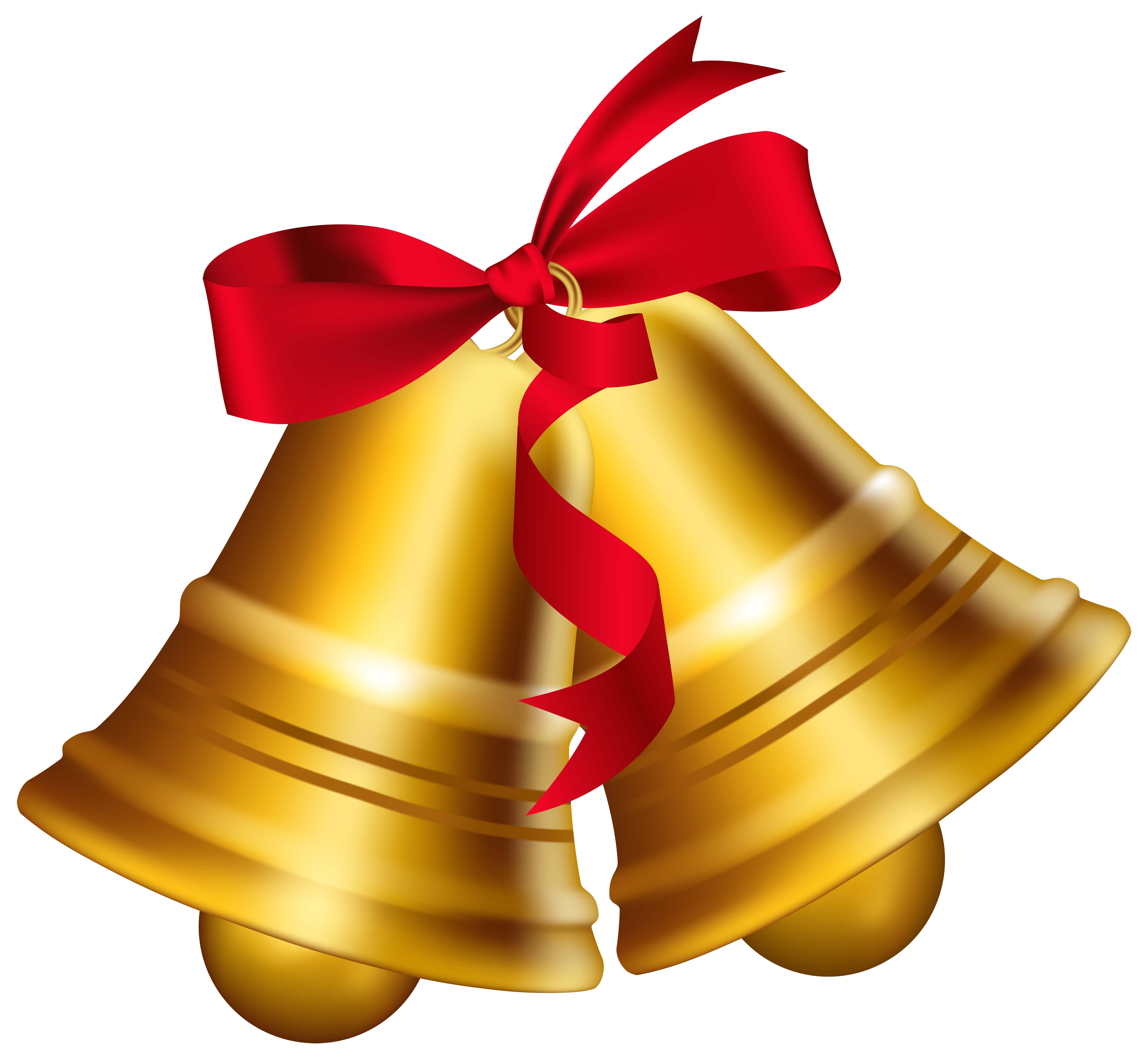 Christmas bells with bow. Ornament clipart bell