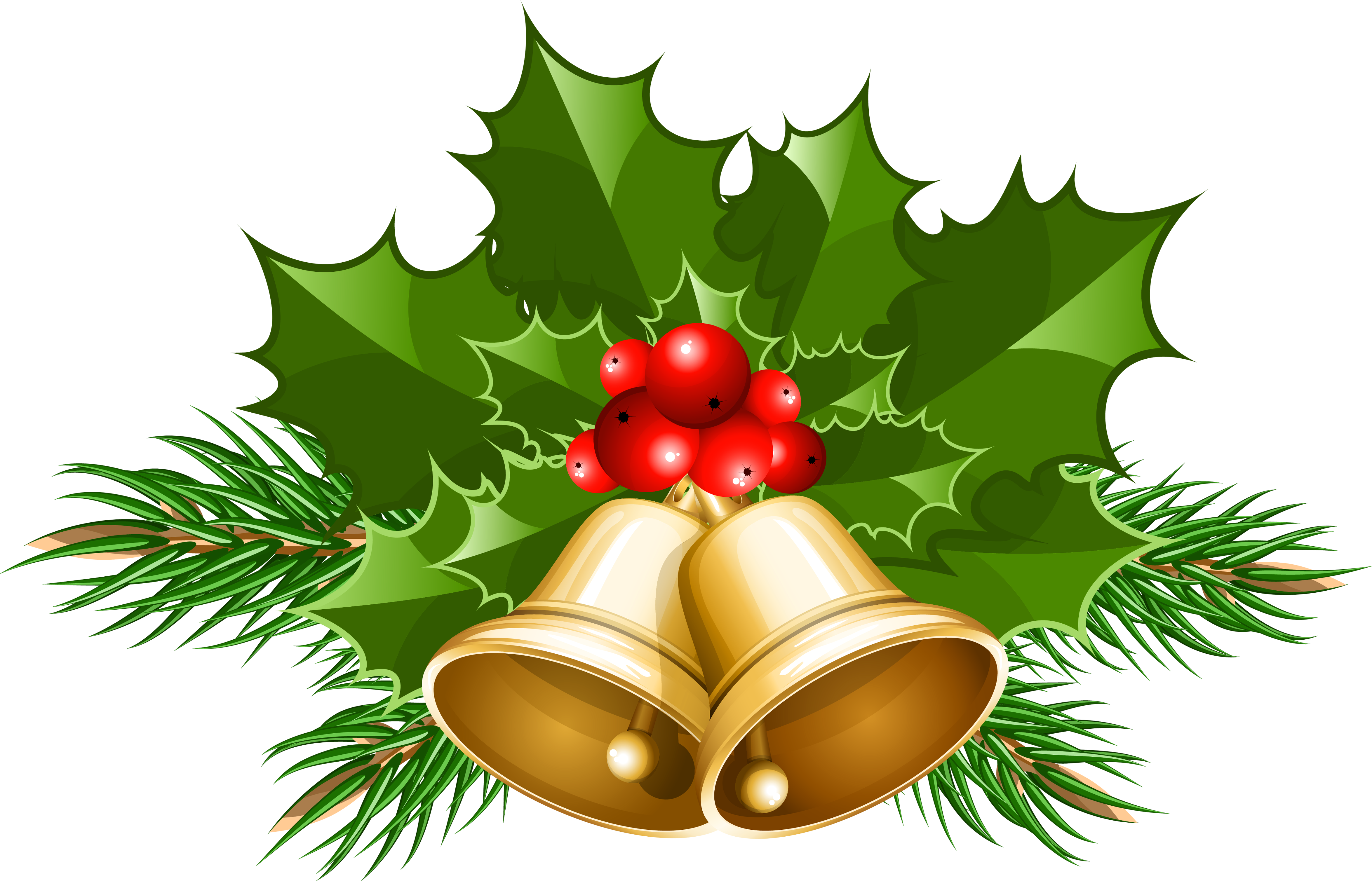 Holly clipart bell. Large transparent christmas bells