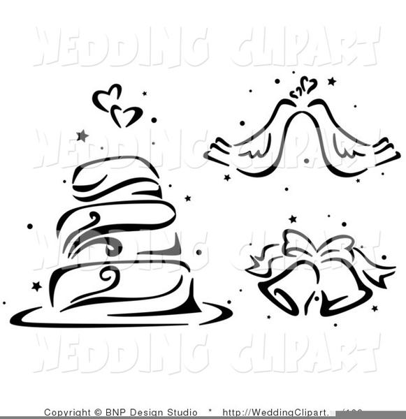 Wedding black and white. Bells clipart design
