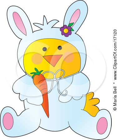 Yellow chick disguised as. Bells clipart easter