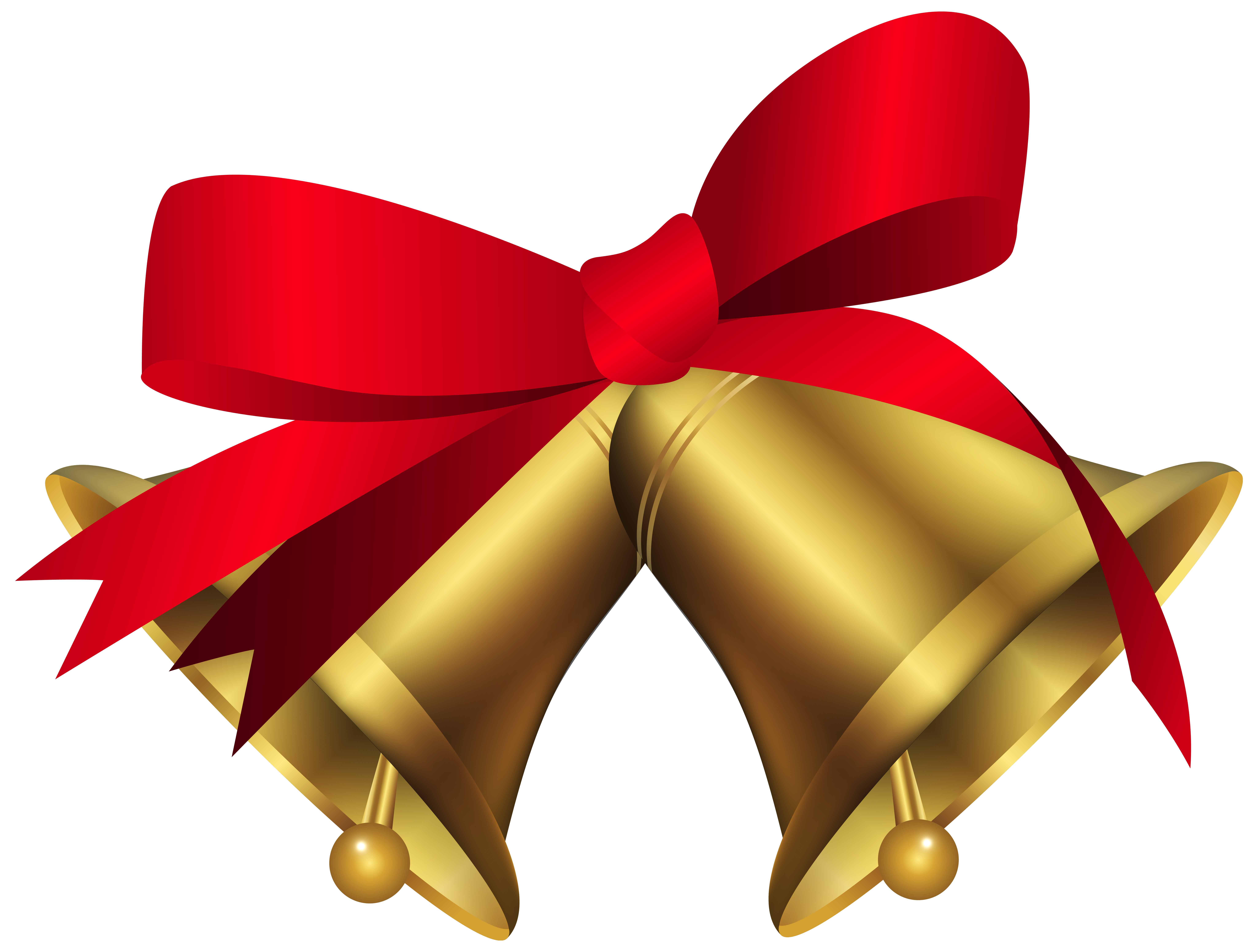Christmas with red bow. Clipart reindeer bells