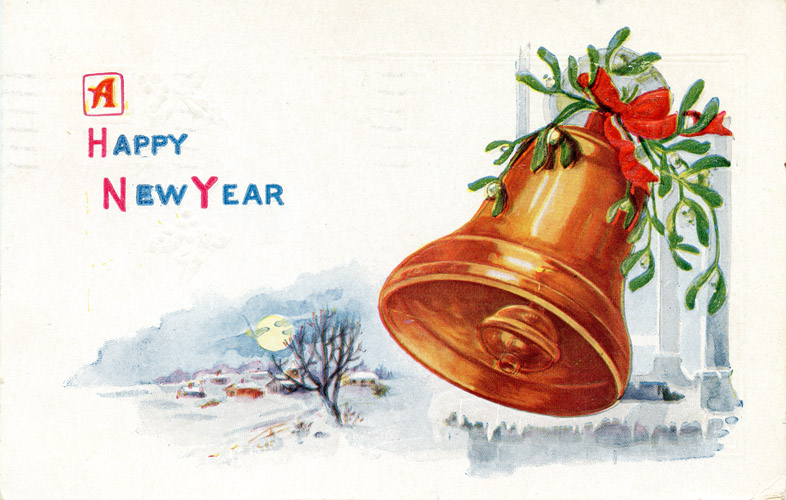 Bells clipart new year. Victorian banner merry christmas