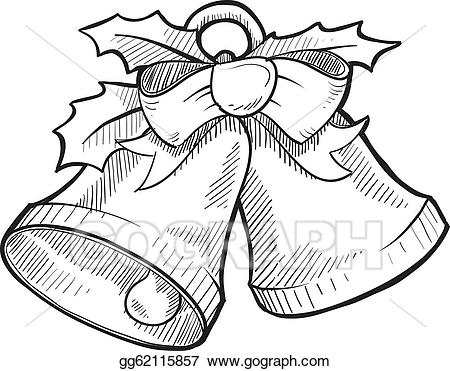 Bell clipart sketches. Vector christmas bells sketch