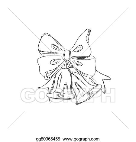 Bells clipart sketches. Vector art christmas drawing