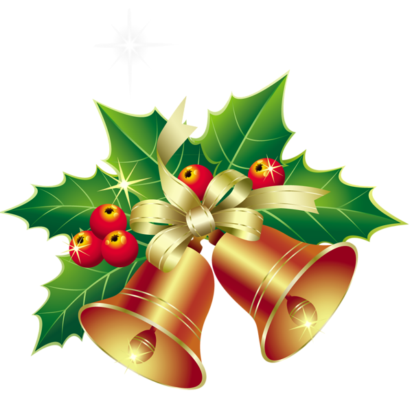 Clipart christmas leaves. Bells with mistletoe ornament
