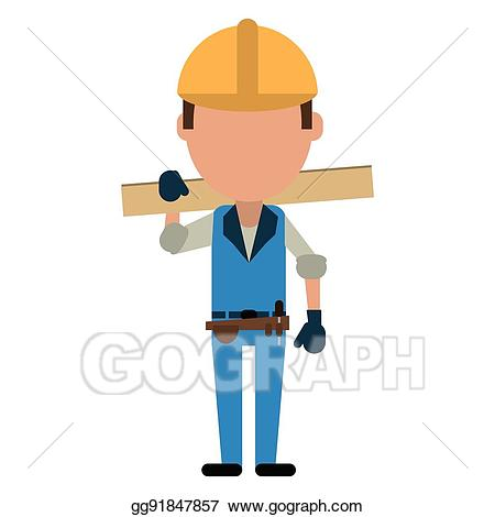 Contractor clipart hispanic man. Vector art construction wooden